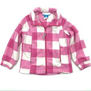 Columbia Girls Fleece Jacket Size 4/5 Pink White